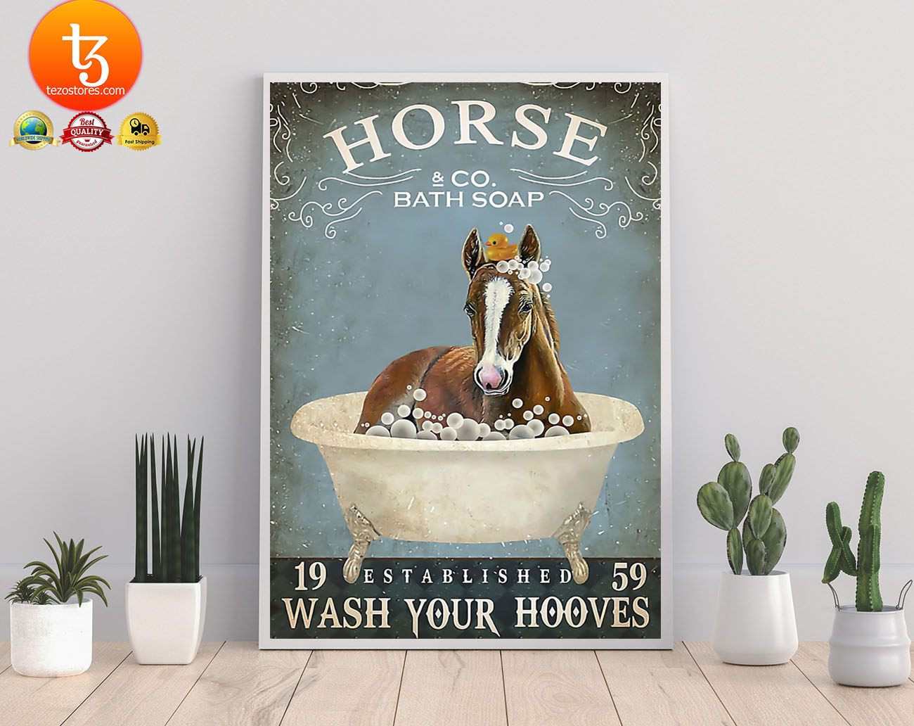 Horse and bath soap wash your hooves poster