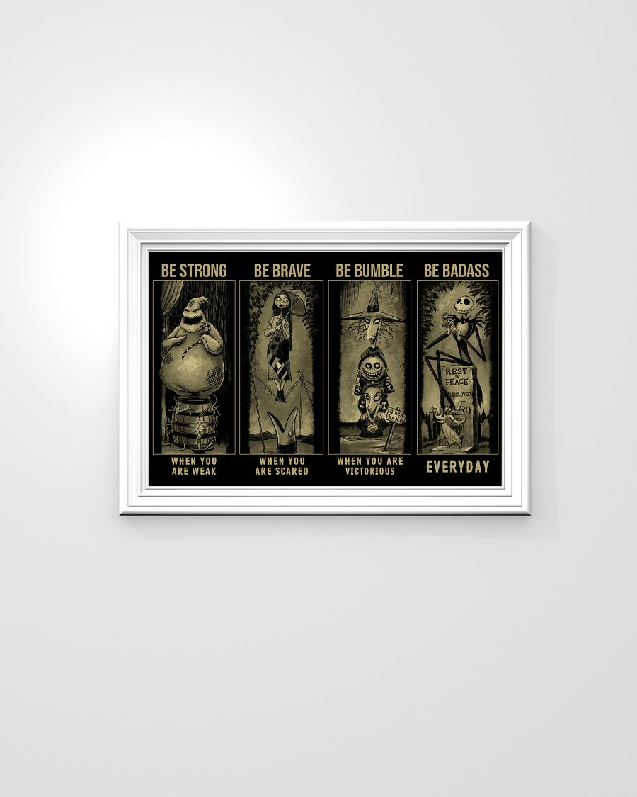 Jack, Sally, Oogie, Mayor, Lock Shock and Barrel be strong be brave be badass poster