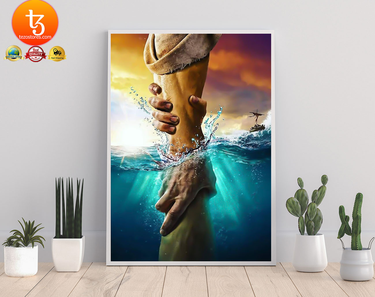 Jesus saves peter from drowning poster