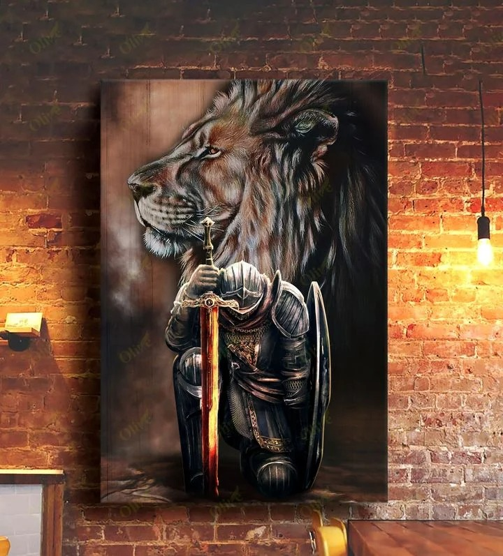 Lion and warrior knight canvas