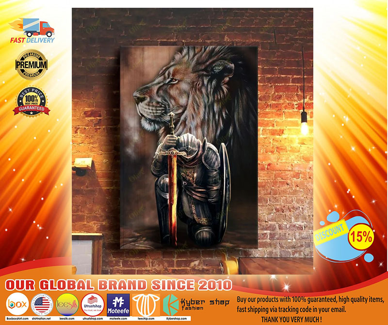 Lion and warrior knight canvas4