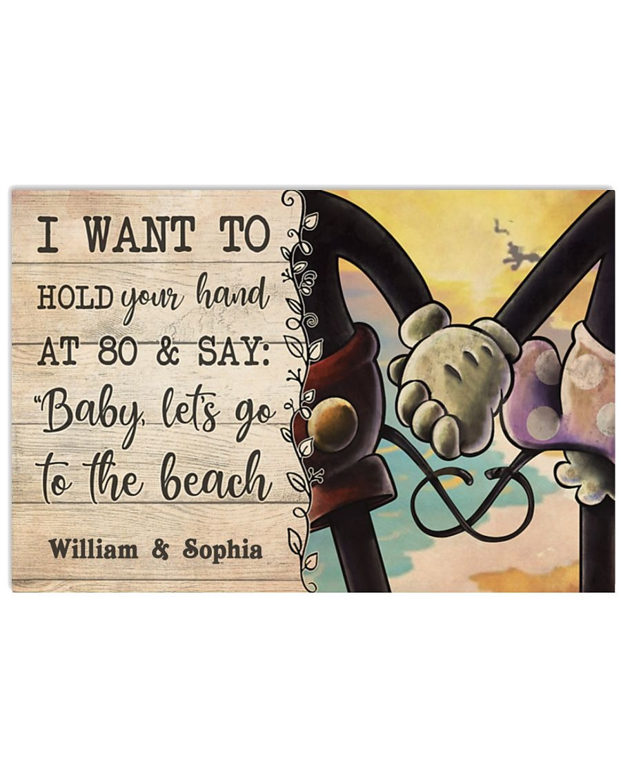 Mickey I want to hold your hand custom name poster