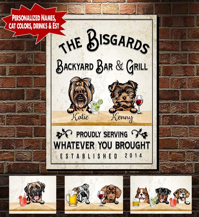 Personalized Backyard Bar & Grill Dog and Cat Canvas A2