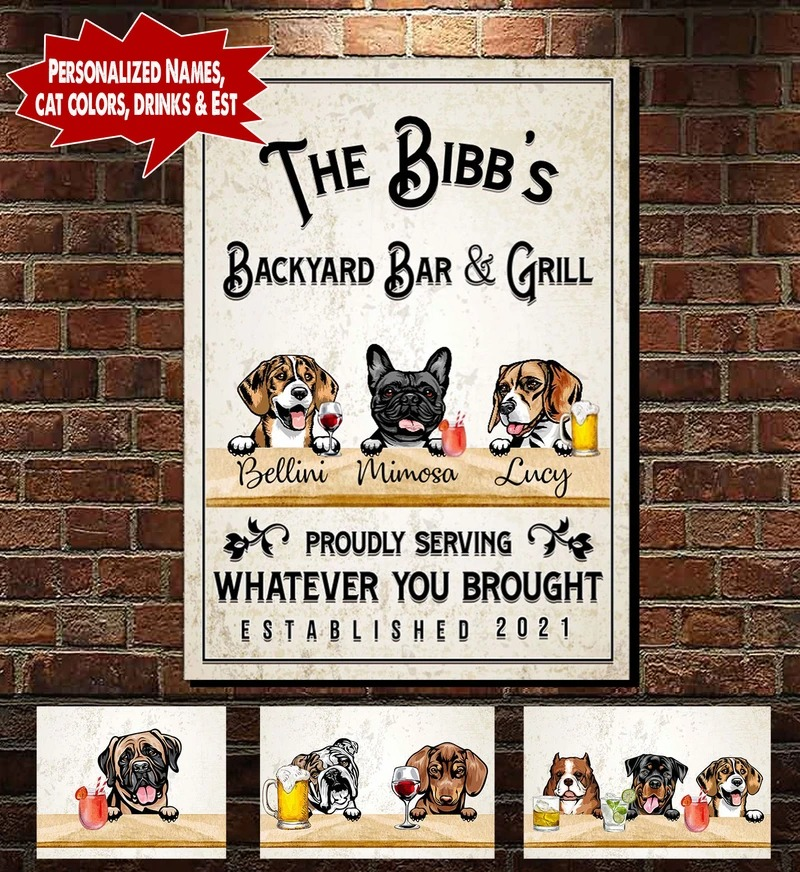 Personalized Backyard Bar & Grill Dog and Cat Canvas A3