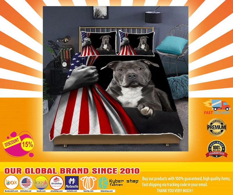 Pitbull American Flag Bedding set A4