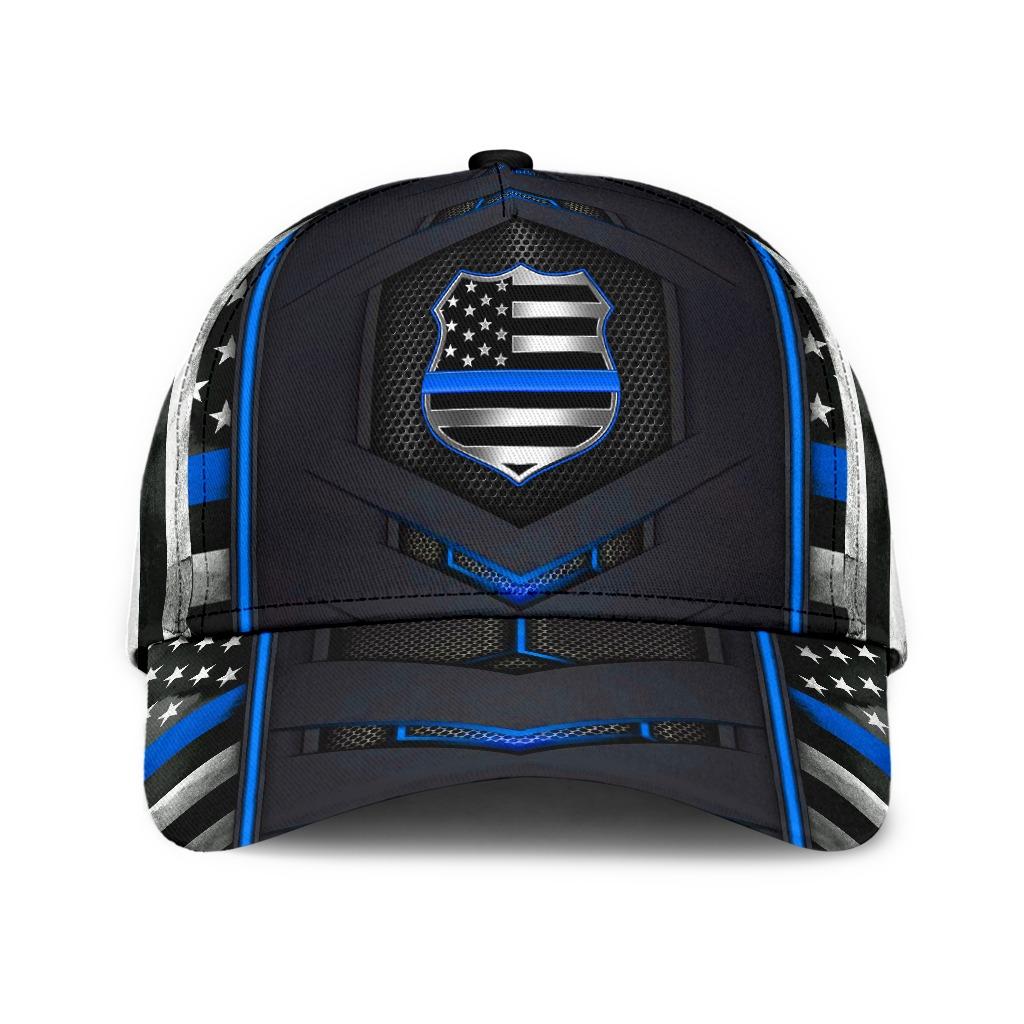 Police Blue pattern flag cap