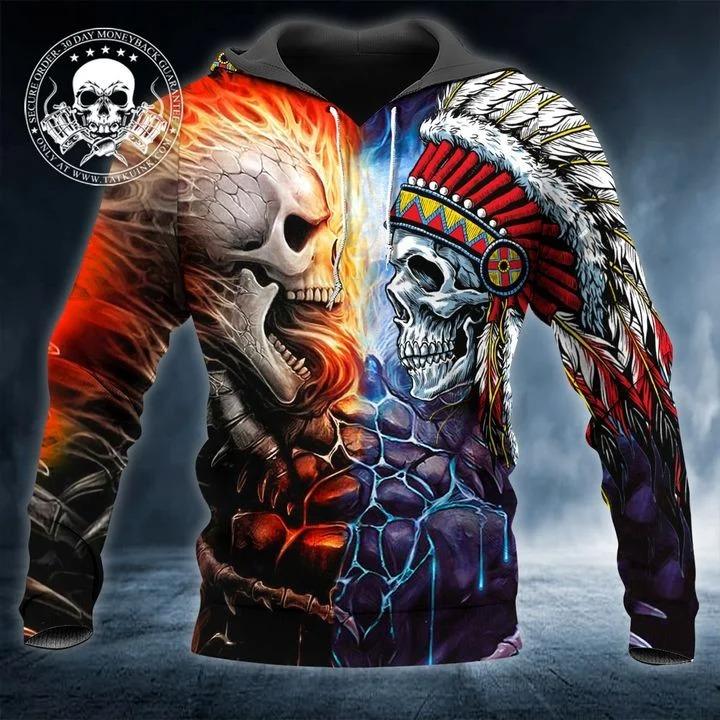 Skull war native 3D hoodie