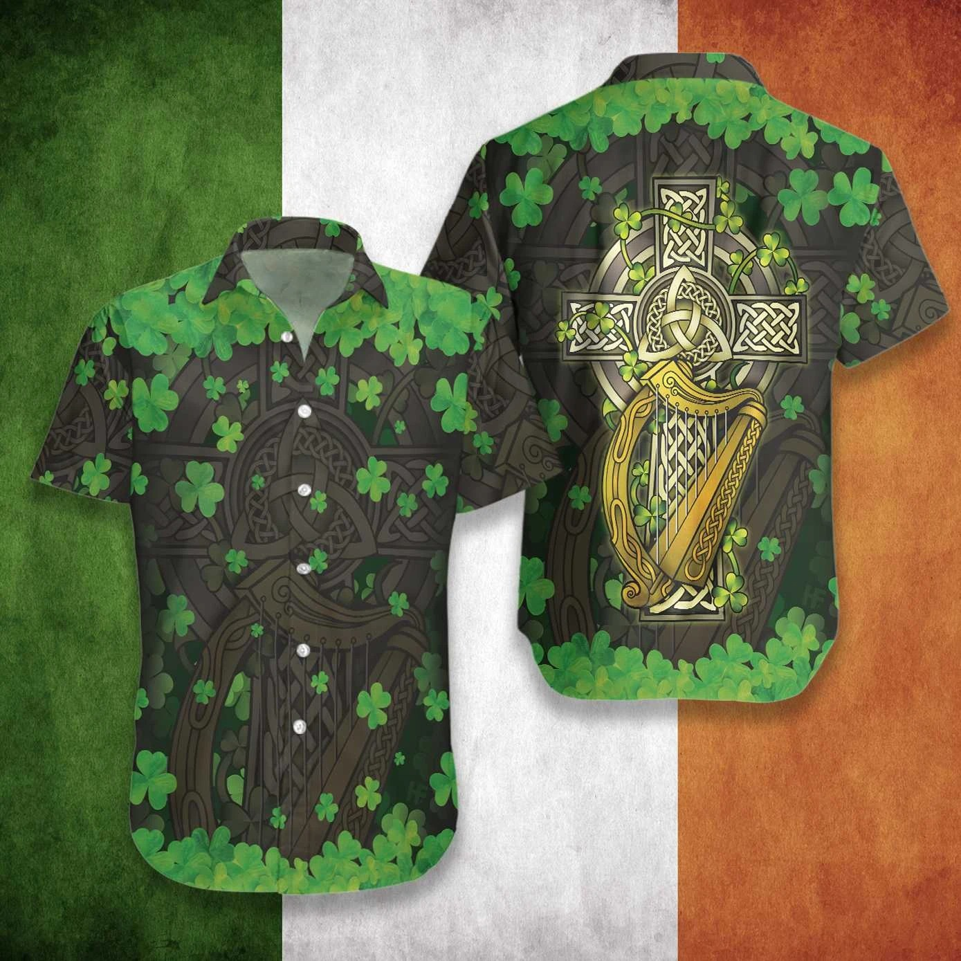 The Celtic Cross Harp Irish Hawaiian shirt A3