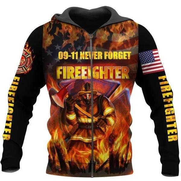 09-11 never forget firefighter 3D hoodie