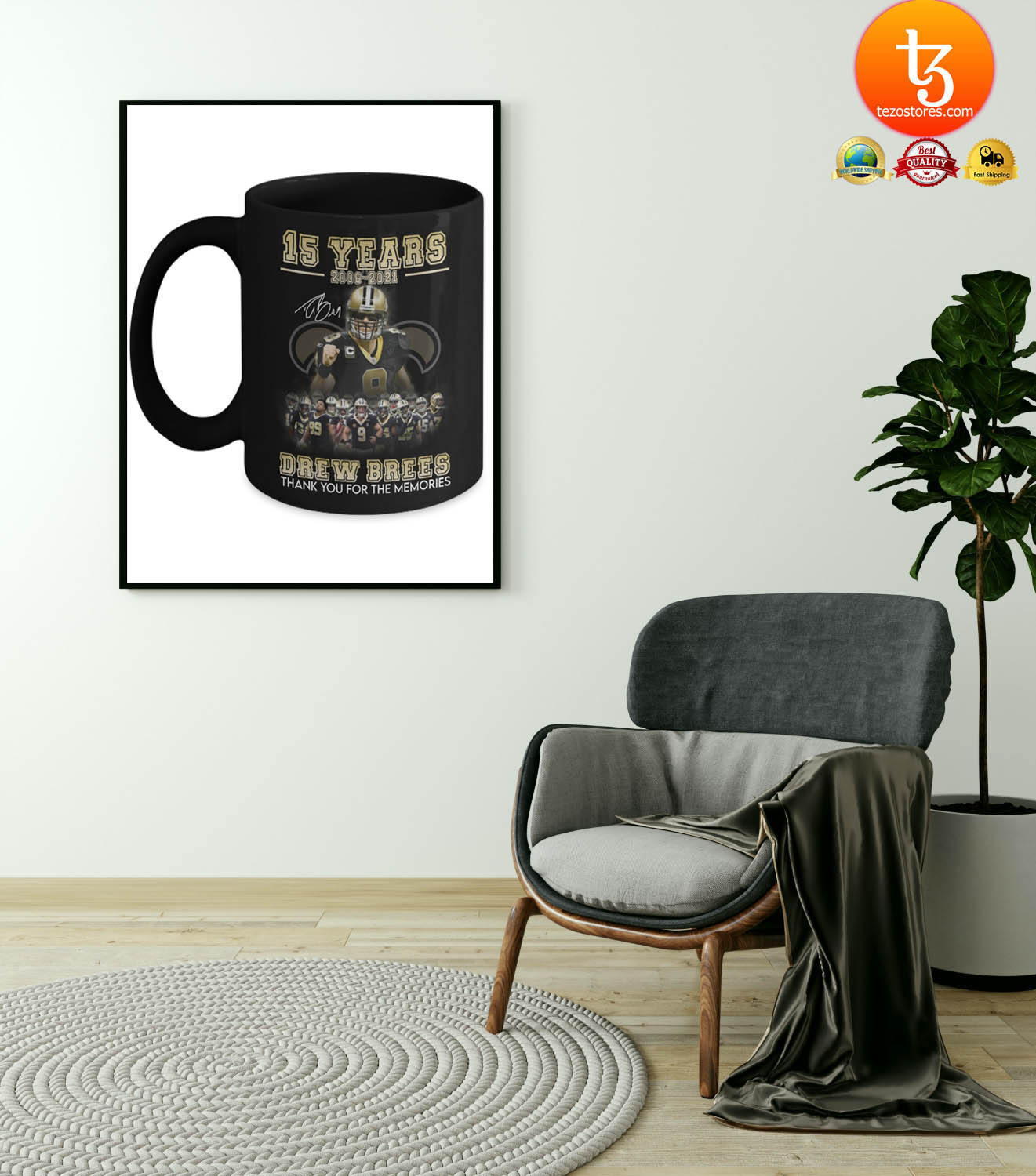 15 years 2006 - 2021 drew brees thank you for the memories mug 21