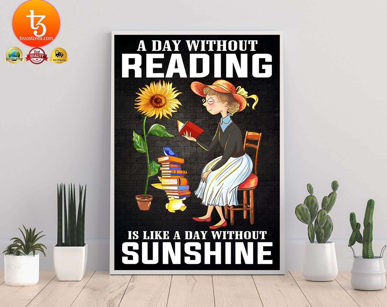 A day without reading is like a day without sunshine poster