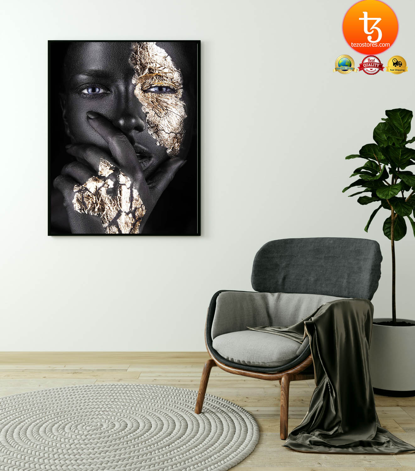 African Black and gold woman poster 2
