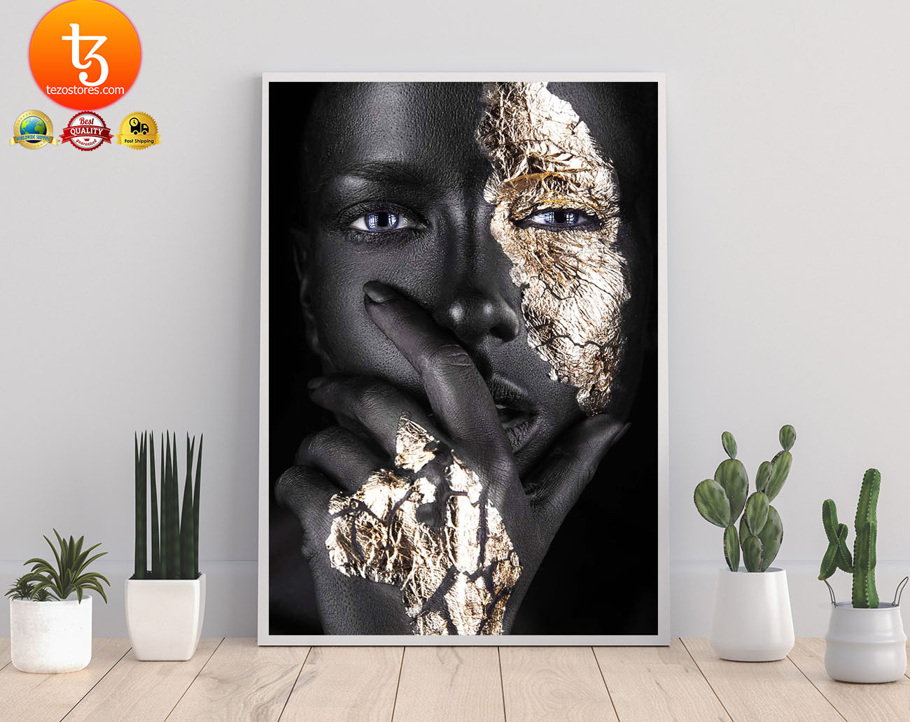 African Black and gold woman poster 3