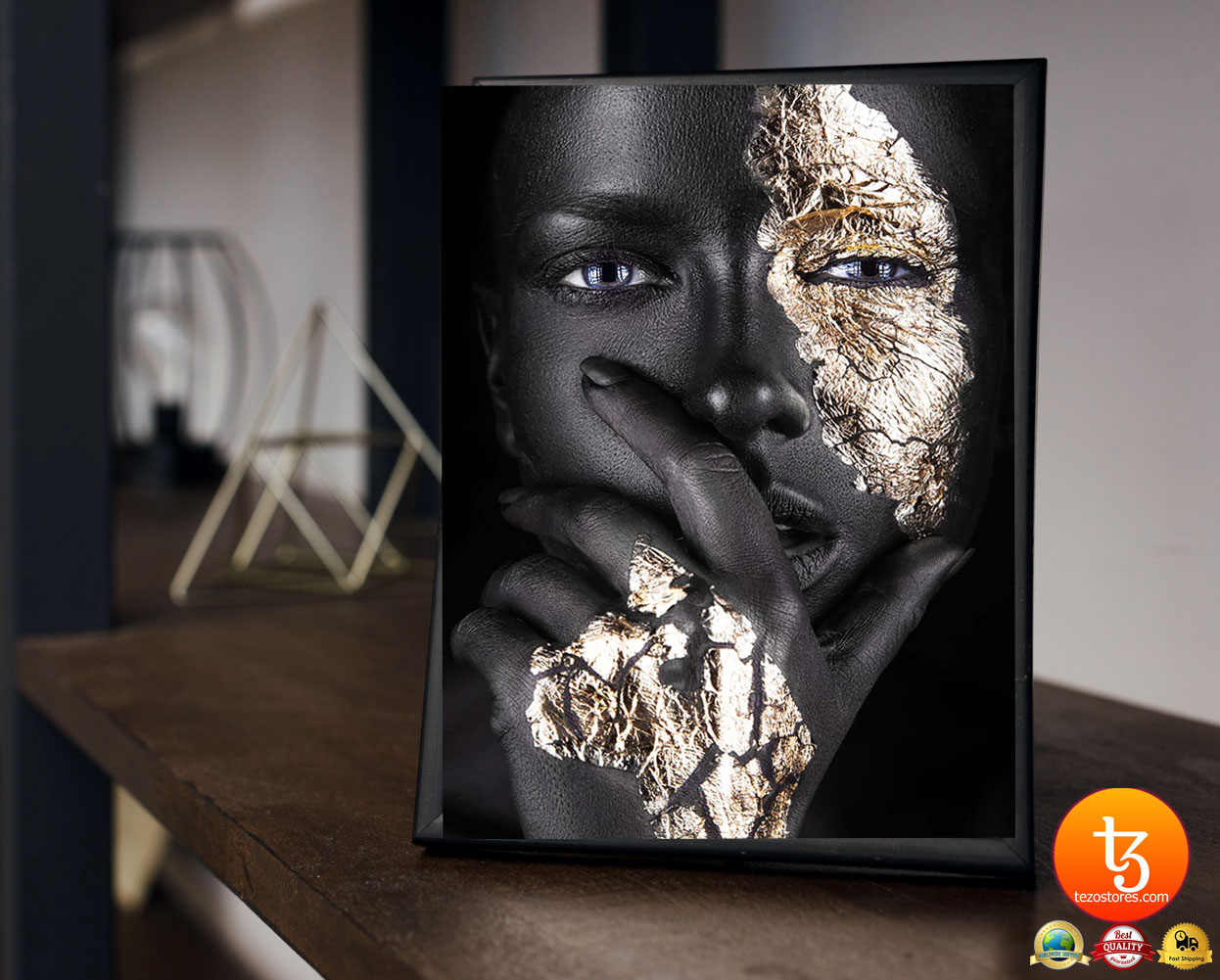 African Black and gold woman poster 4