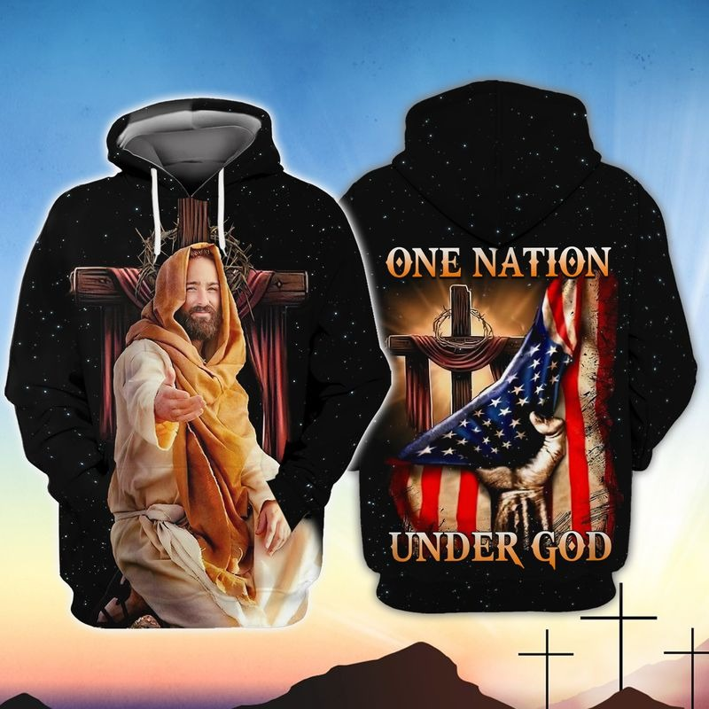 American One nation under god 3D hoodie