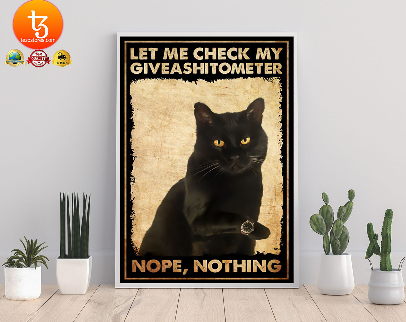 Black cat let me check my giveashitometer nope nothing poster
