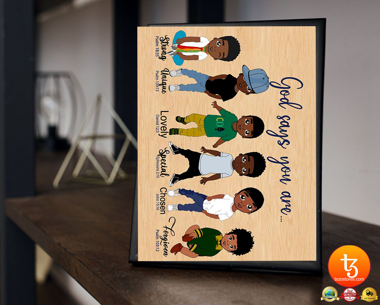 Black child boys God says you are strong unique poster 23