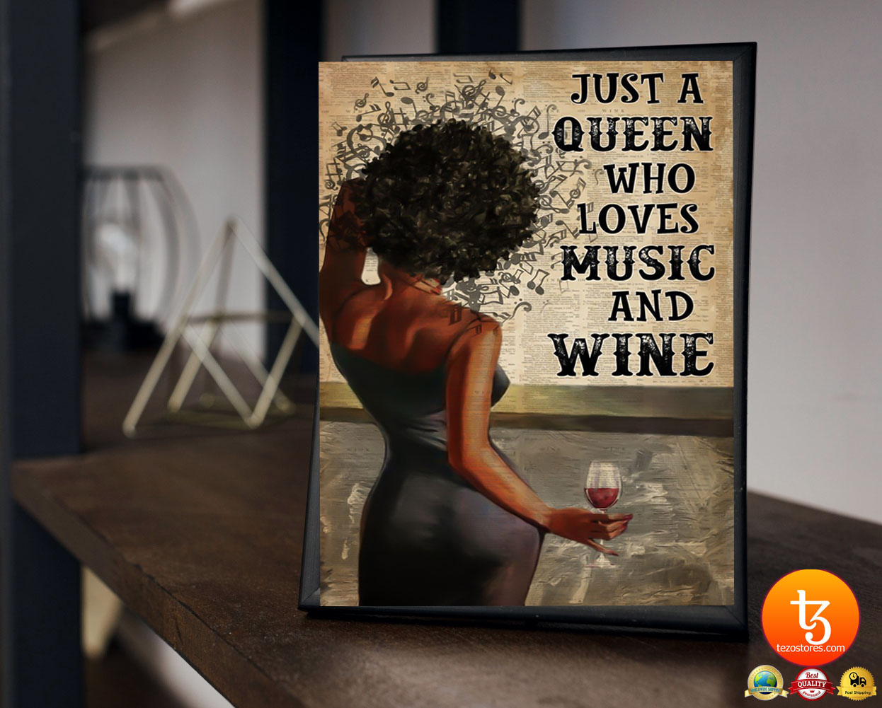 Black girl Just a queen who loves music and wine poster