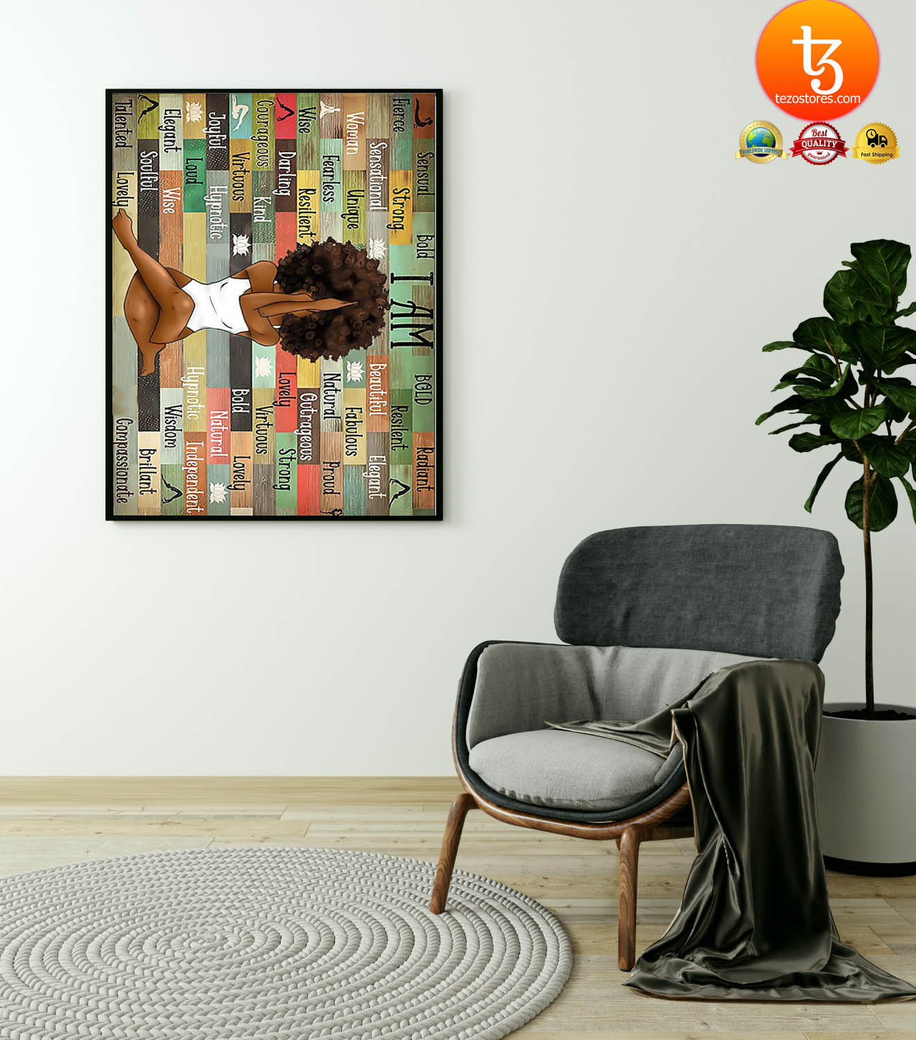Black girl with yoga poster 4
