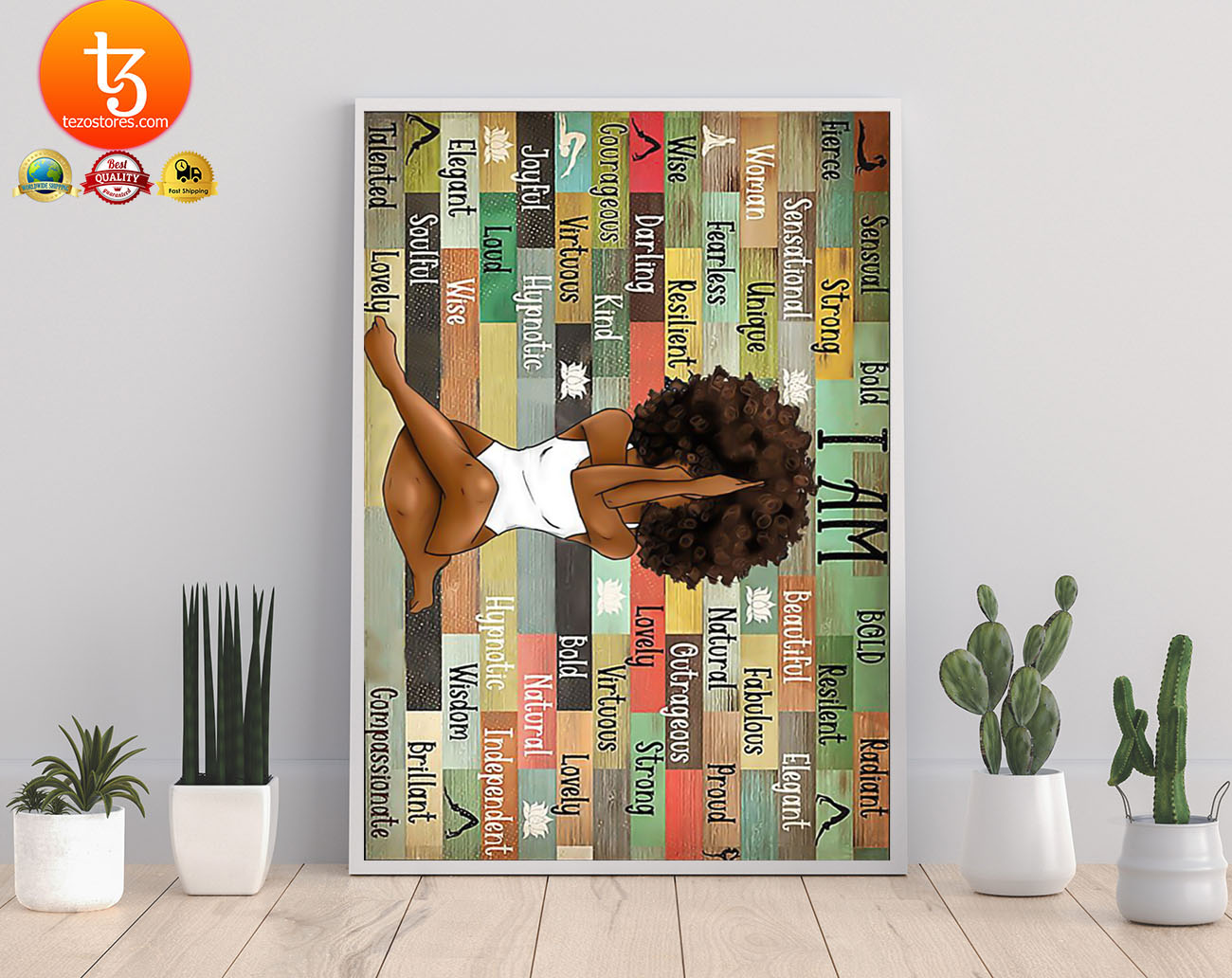 Black girl with yoga poster 3