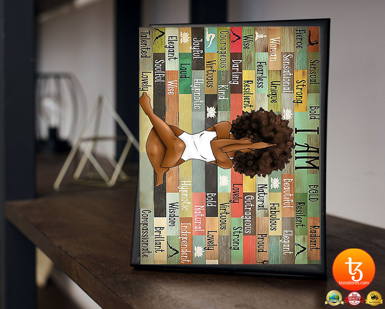 Black girl with yoga poster 2