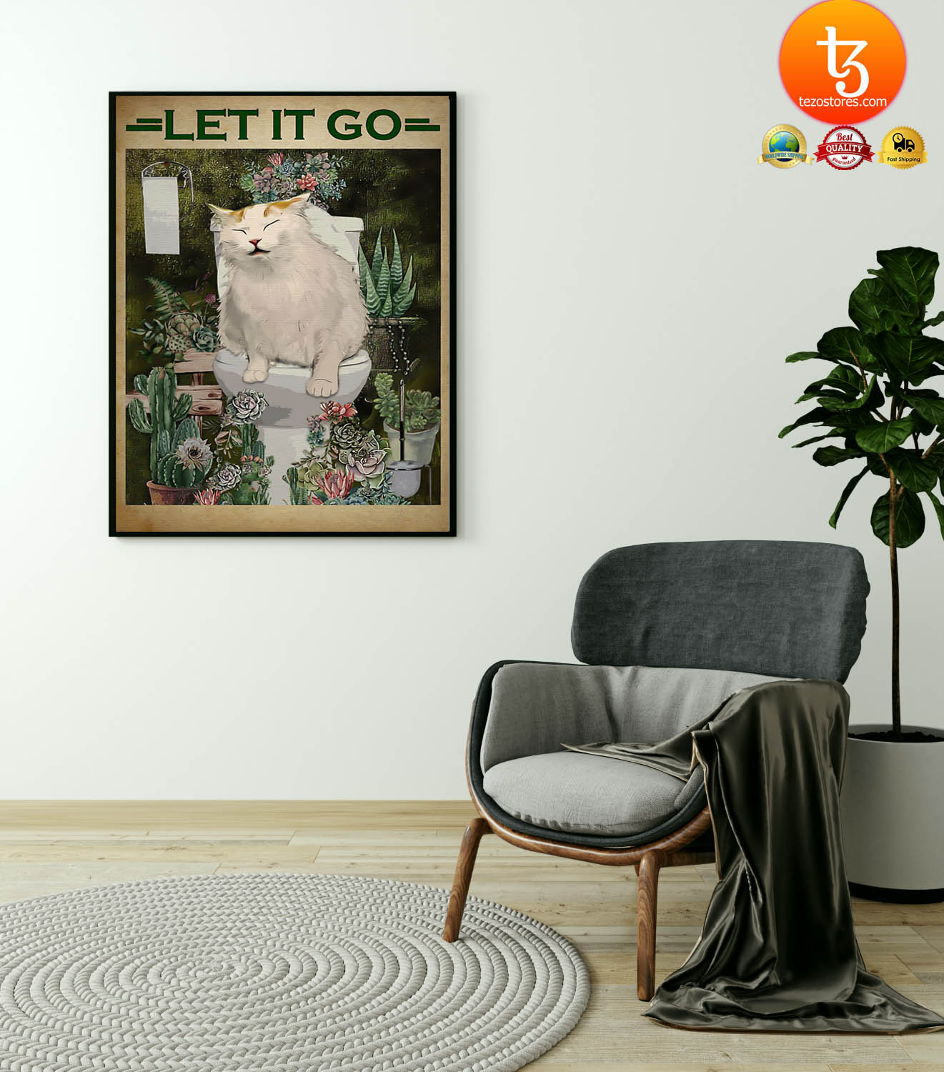 Cat and cactus let it go poster 23