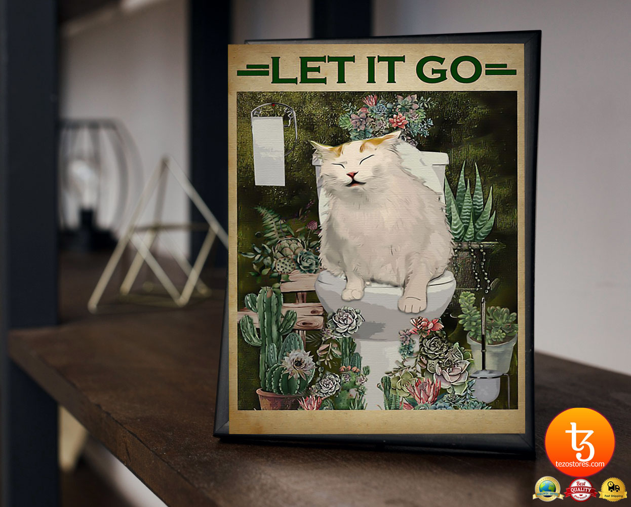 Cat and cactus let it go poster 19