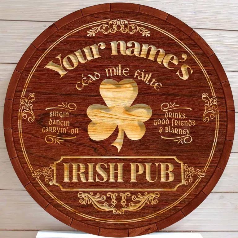 Céao mile failte Irish pub custom name bar sign