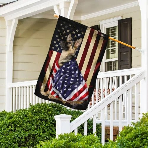 German Shepherd American patriot flag
