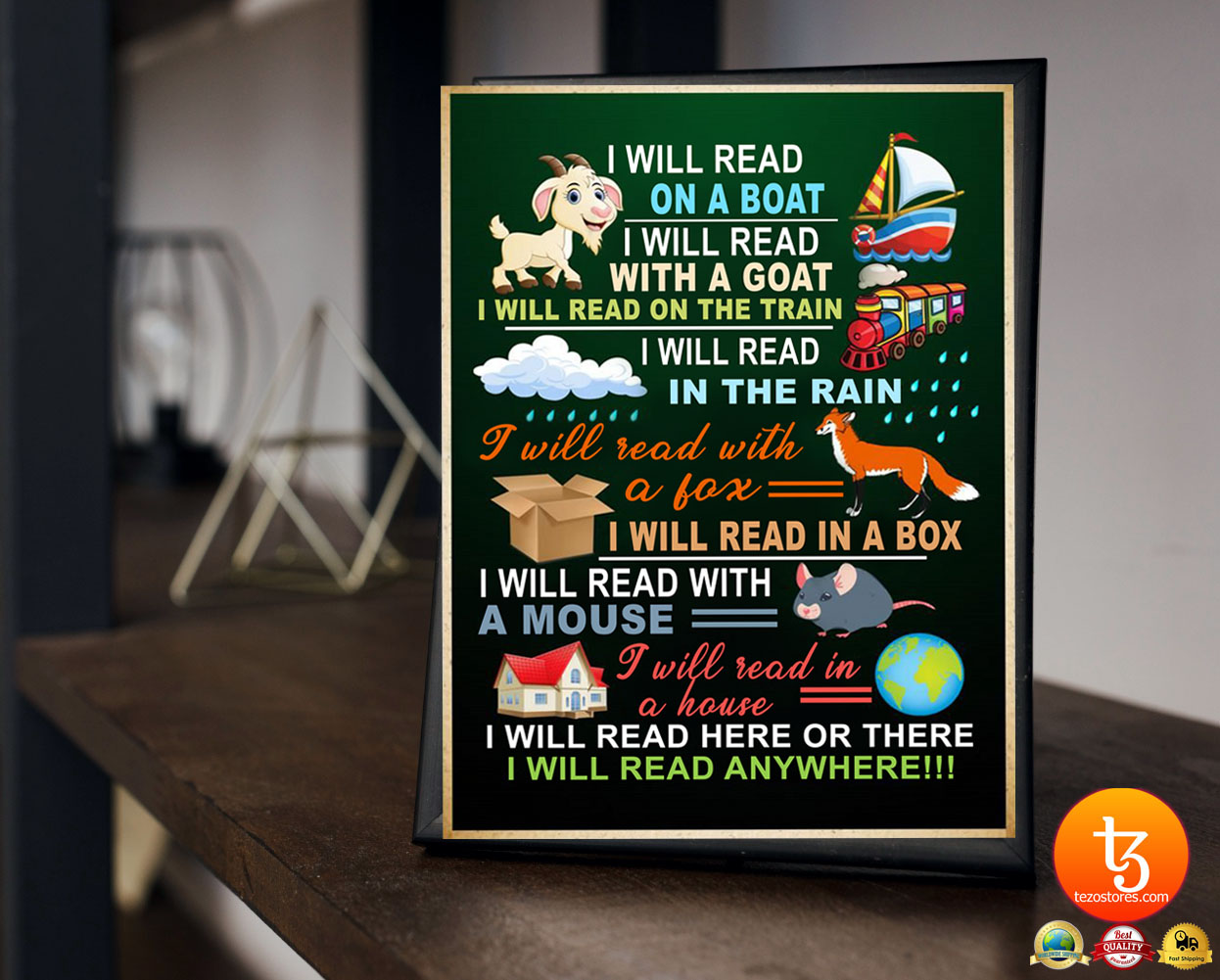 I will read on the boat I will read with the goat in the rain with the fox poster