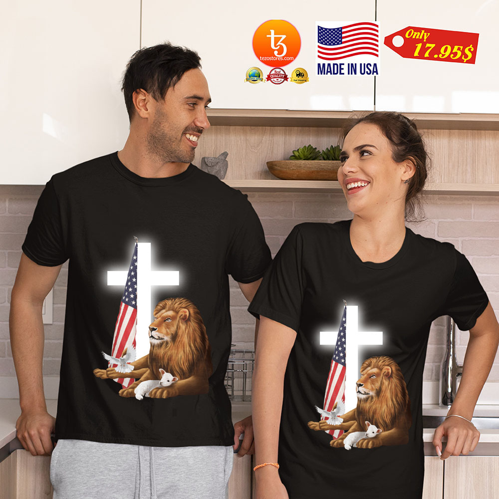Lion God and Lamb American flag shirt 19
