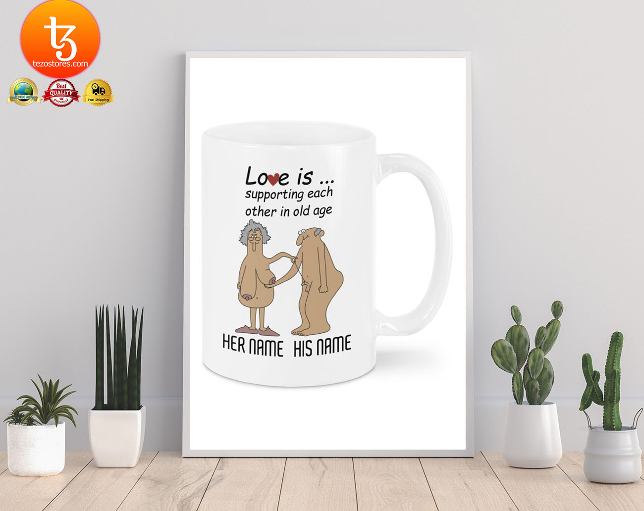 Love is supporting each other in old age custom personalized name mug 19