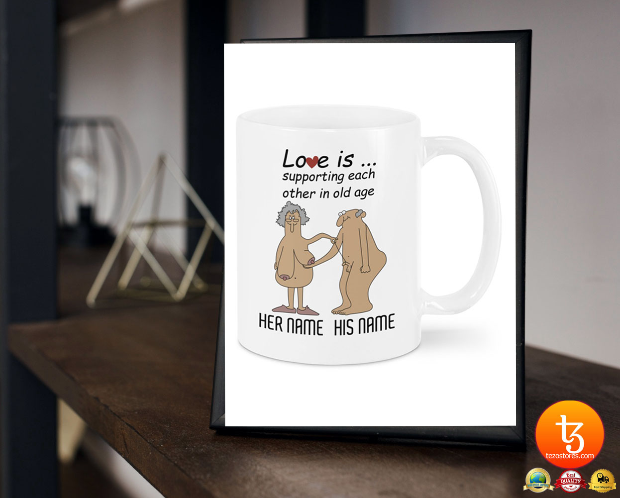 Love is supporting each other in old age custom personalized name mug 17