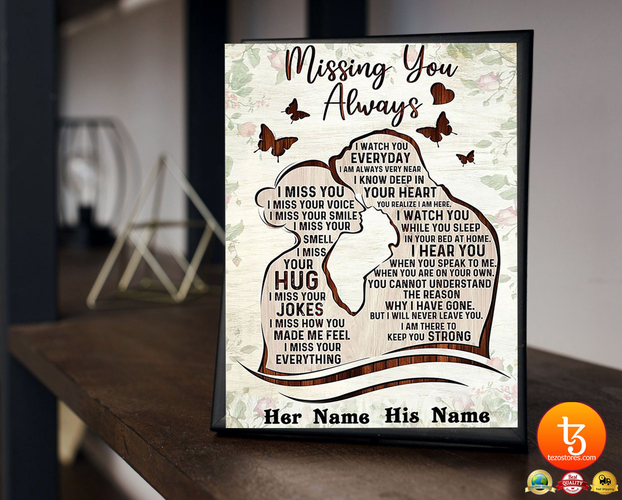 Missing you always I watch you everyday custom personalized name poster 19
