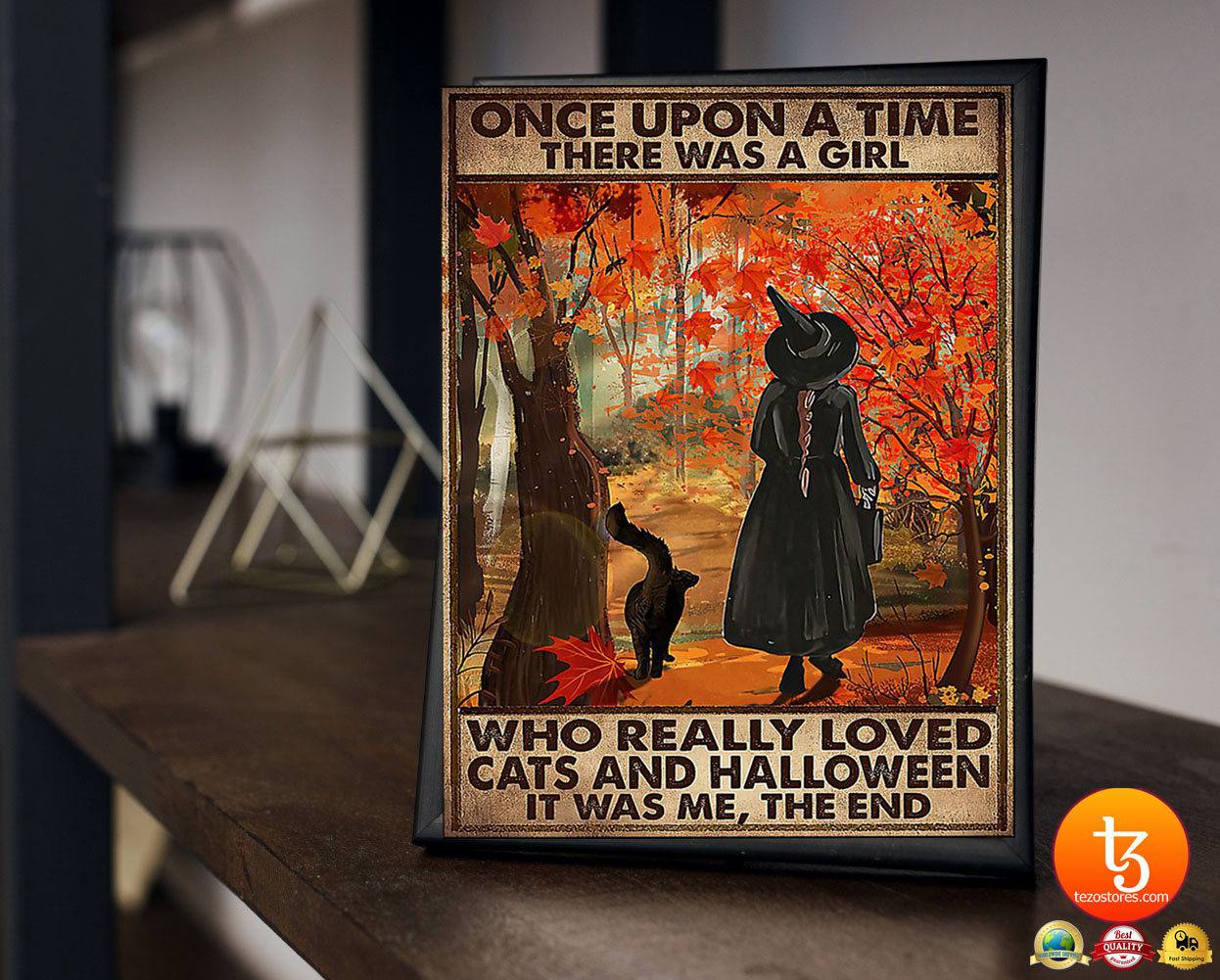 Once upon a time there was a girl who really loved cats and halloween poster