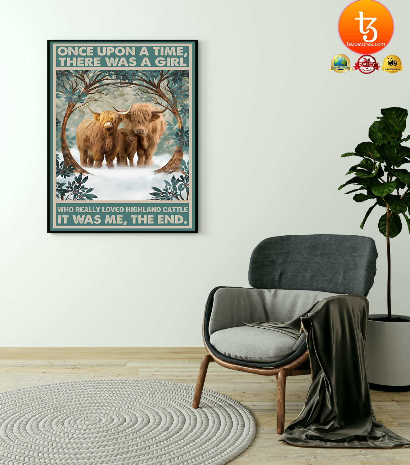 Once upon a time there was a girl who really loved hinghland cattle poster
