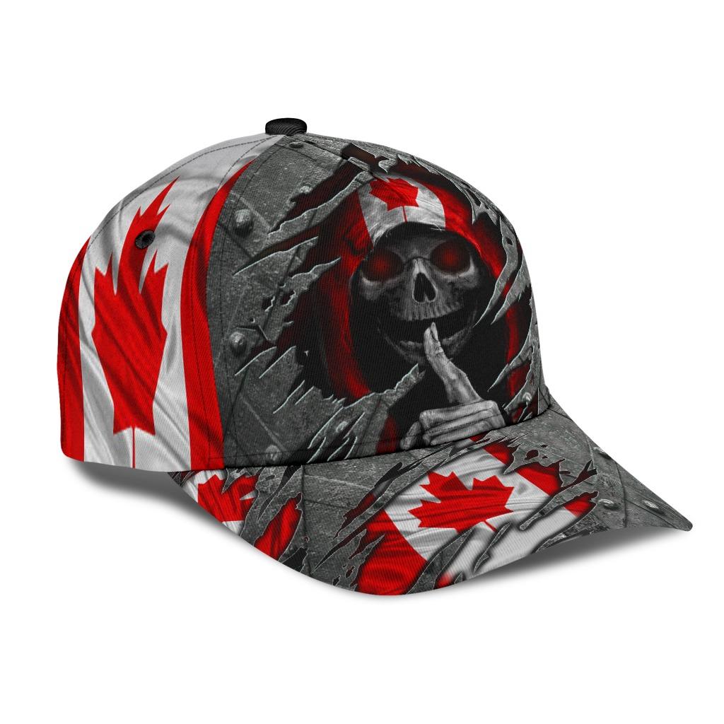Skull Canada flag cap