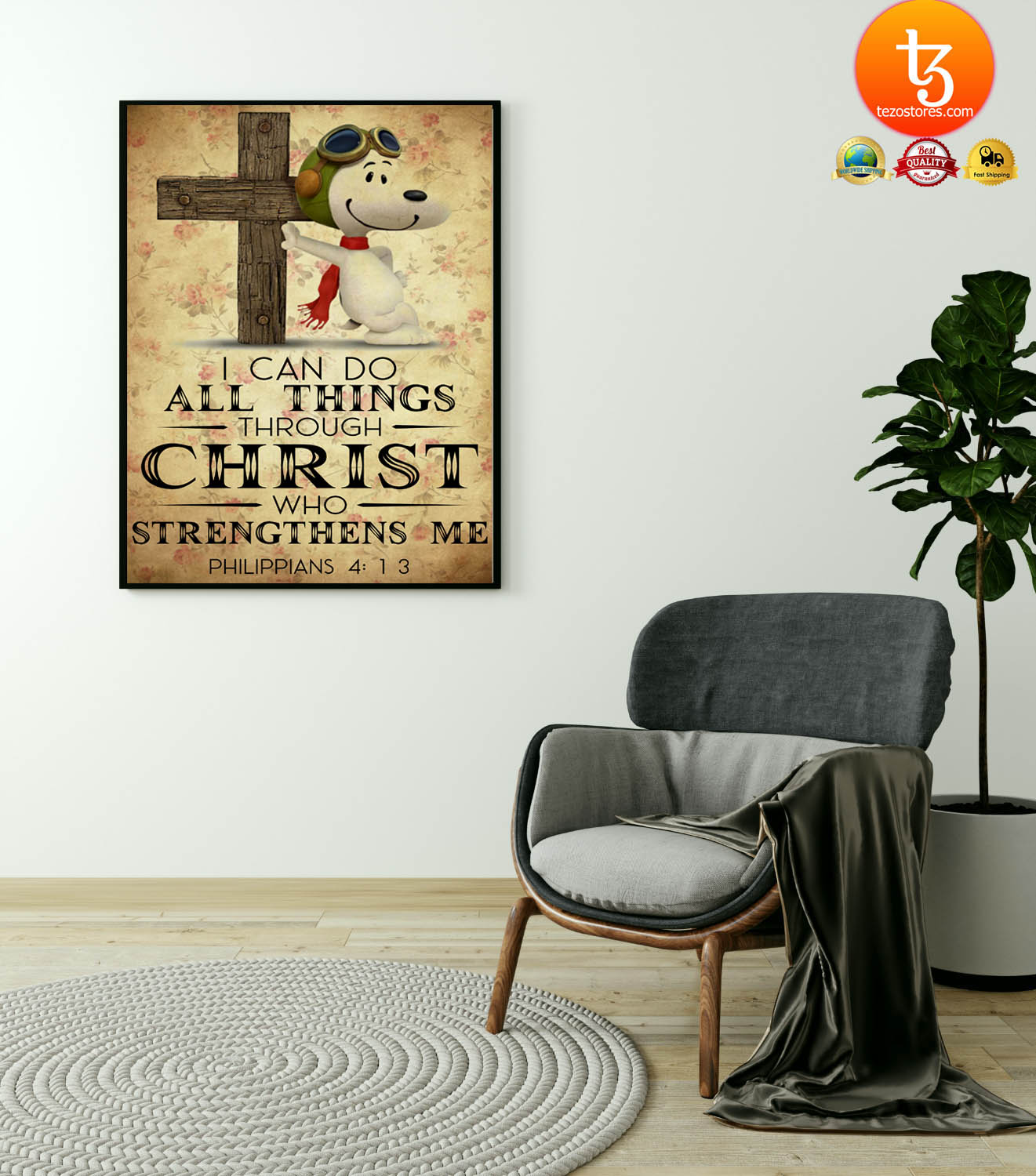 Snoopy I can do all things through christ who strenghthens me poster