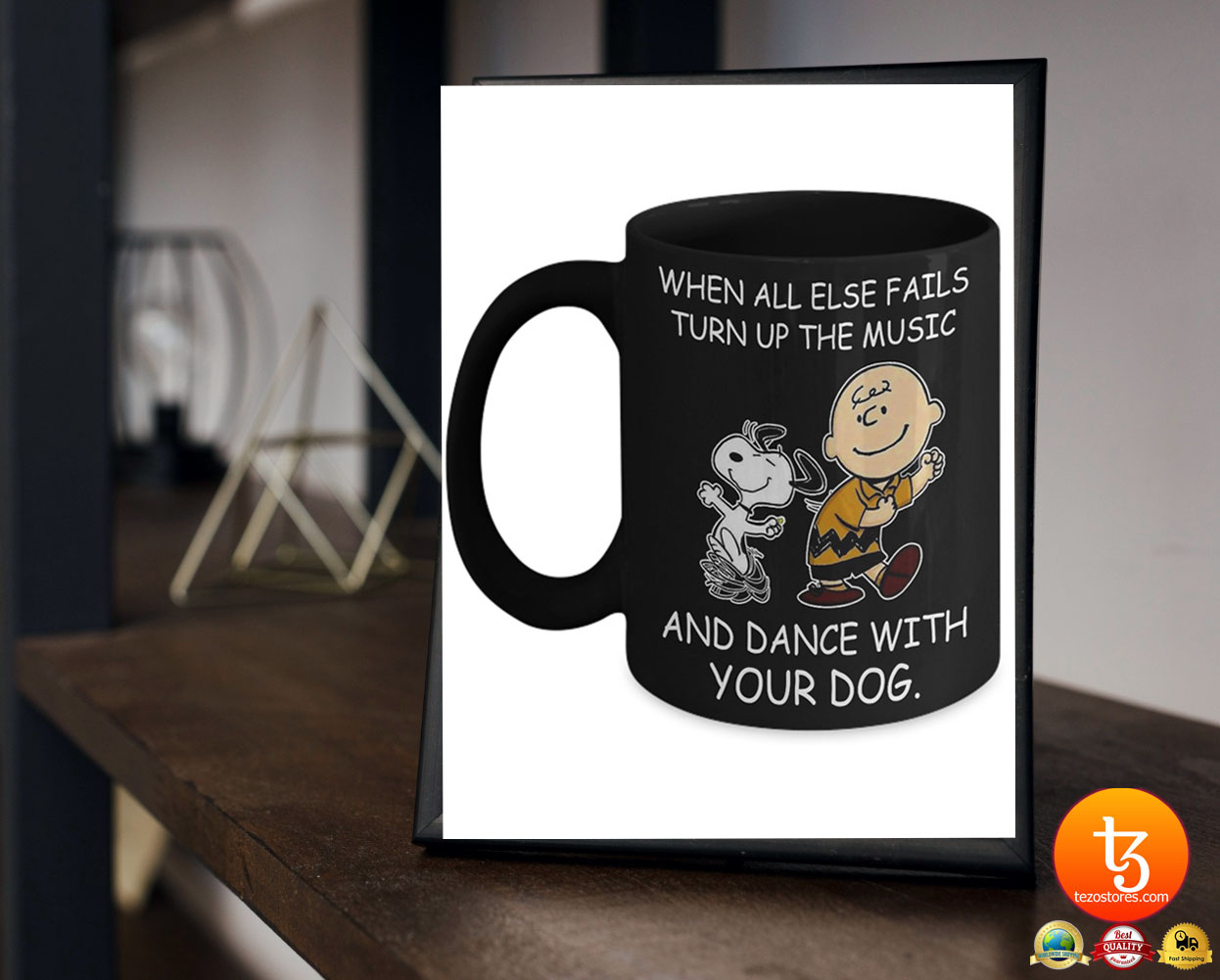 Snoopy and Charlie Brown When all else fails turn up the music and dance with your dog mug