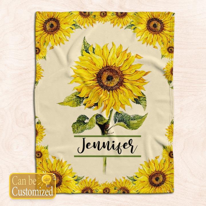Sunflower custom personalized name blanket