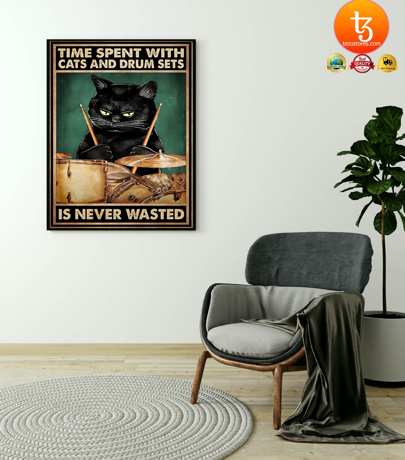 Time spent with cats and drum sets is never wasted poster 23