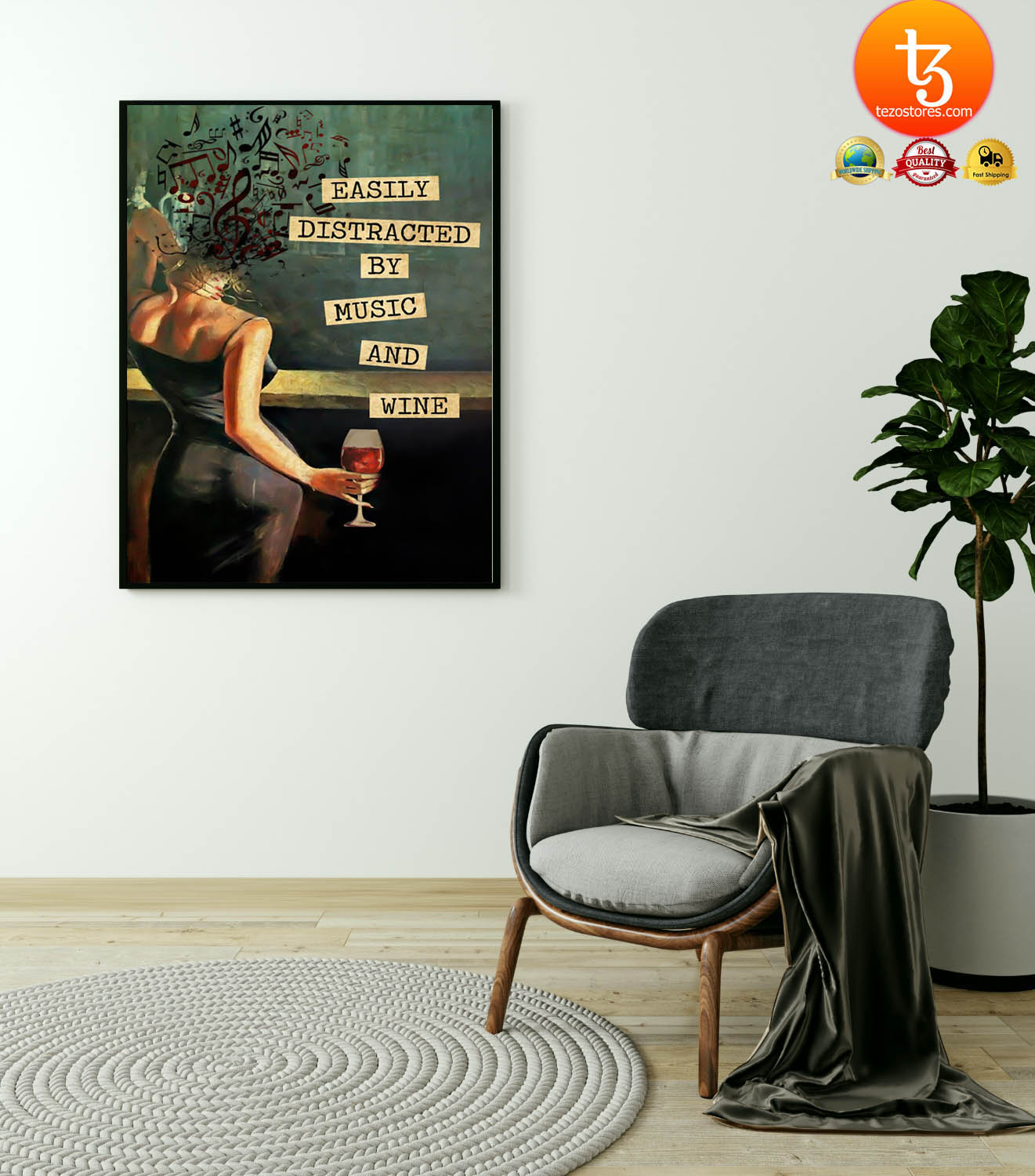 Vintage easily distracted by music and wine poster 21