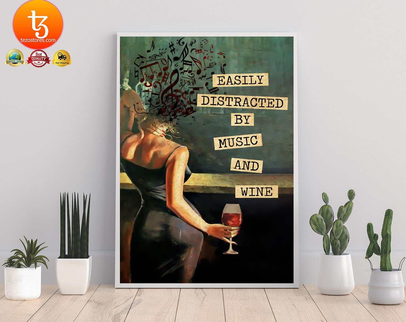 Vintage girl easily distracted by music and wine poster 23