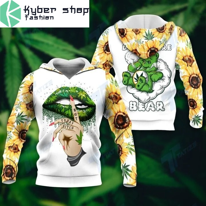 Weed don't care bear 3D hoodie