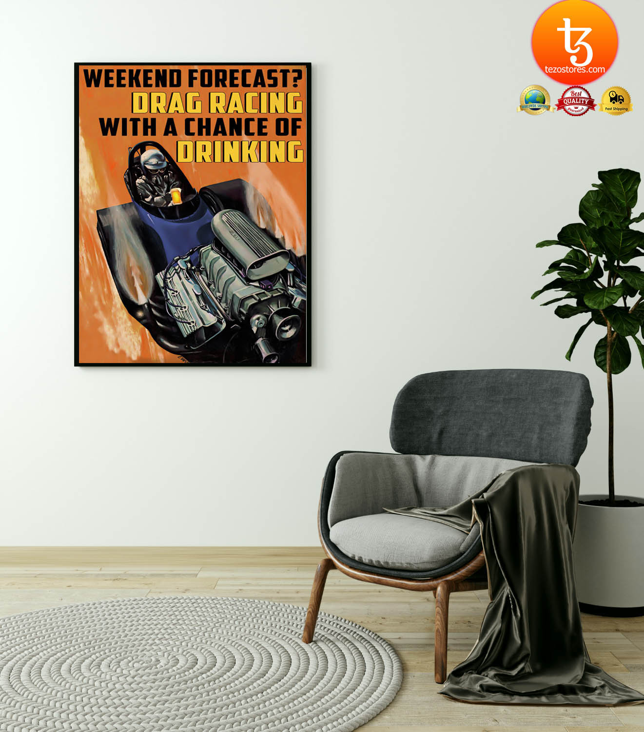 Weekend forecast drag racing with a chance of drinking poster 19