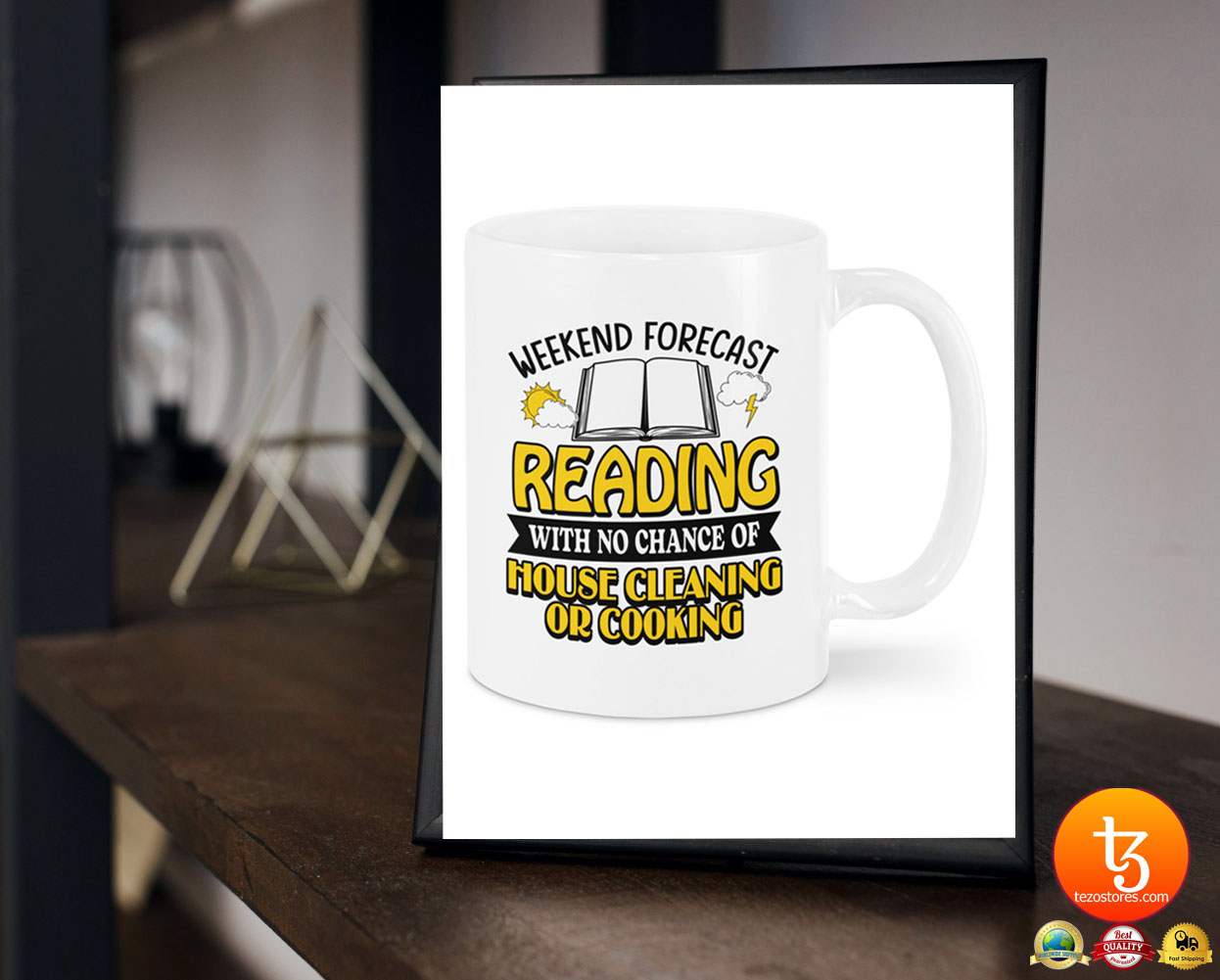 Weekend forecast reading with no chance of house cleaning or cooking mug
