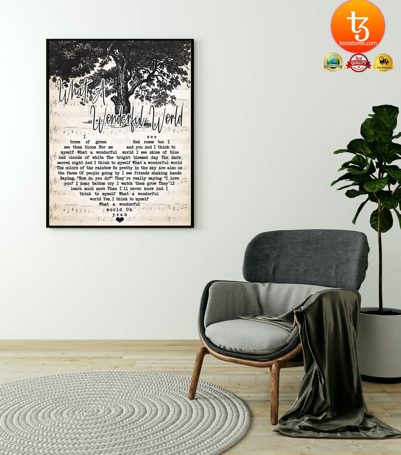 What a wonderful world I trees of green see them blood for me poster