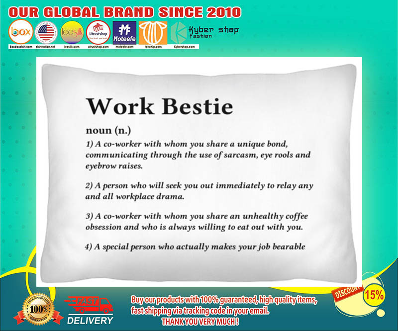 Work bestie definition a co worker with whom you share a unique bond cushion pillow