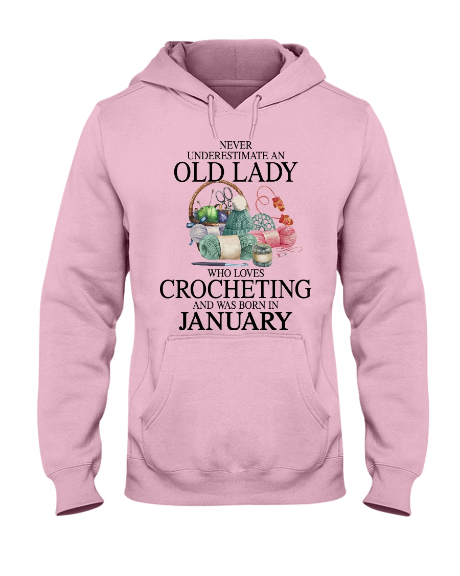 Never Underestimate an old lady who loves crocheting and was born in january Shirt 3