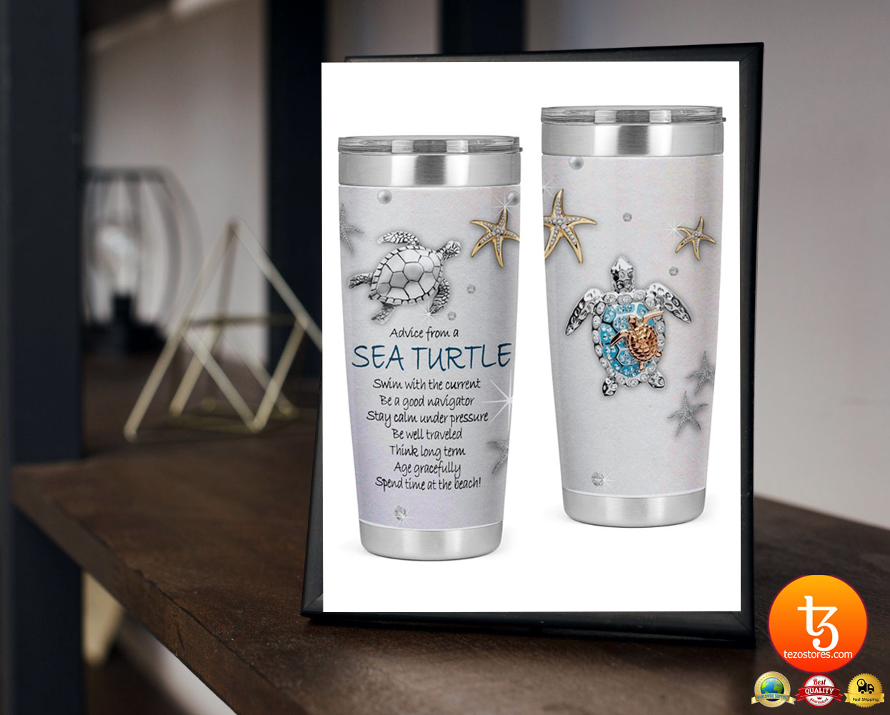Advice from a sea turtle swim with the current be a good navigator tumbler 23